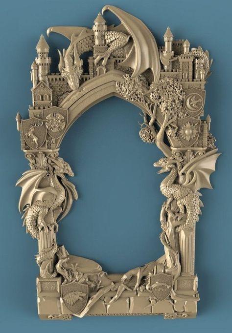 CNC 3D model in STL format ArtCAM (266 frame games of thrones dragon ...