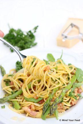 spaghetti carbonara met groene groenten