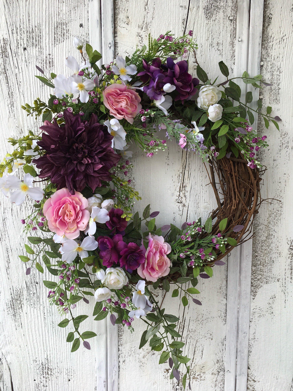 Pretty Plum And Pink Floral Wreath Summer Door Wreath Year Round