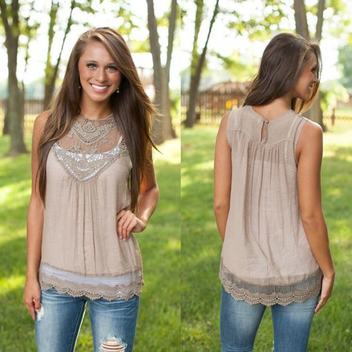 e1bff8746344d 8.45AUD - Fashion Women Blouse Summer Sleeveless Lace Vest Casual Cotton Tank  Tops Shirts  ebay  Fashion