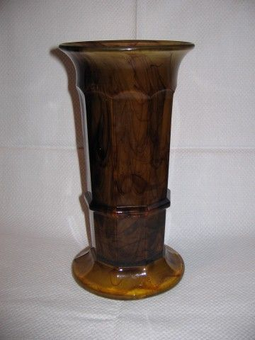 Davidson Amber Cloud Glass No 279 Column Vase 8high C1930s
