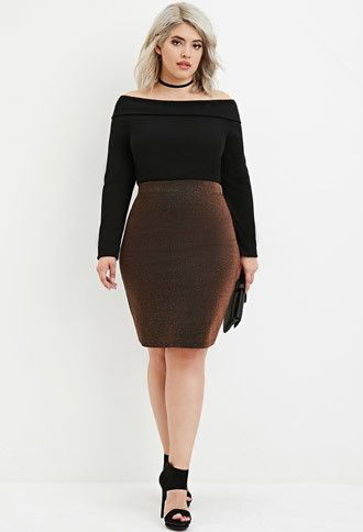 0c921370af Plus Size Metallic Knit Pencil Skirt