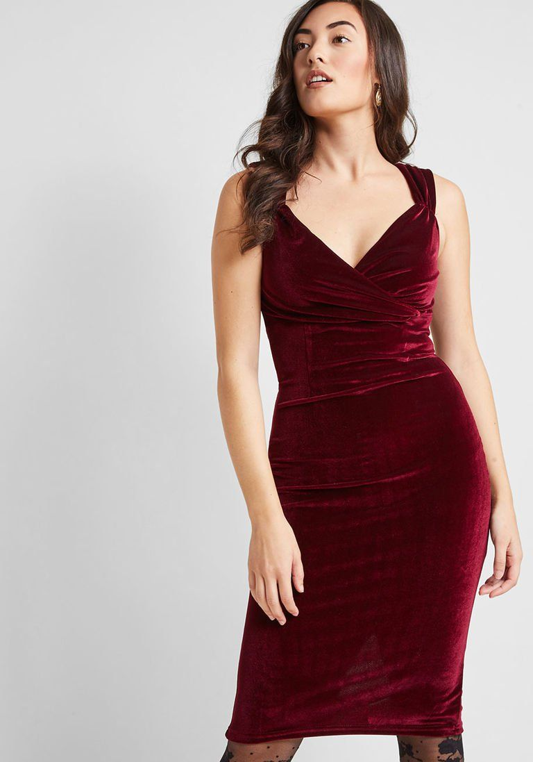21c2c9b15ce Lady Love Song Velvet Dress in Merlot in 1X - Sleeveless Bodycon Midi