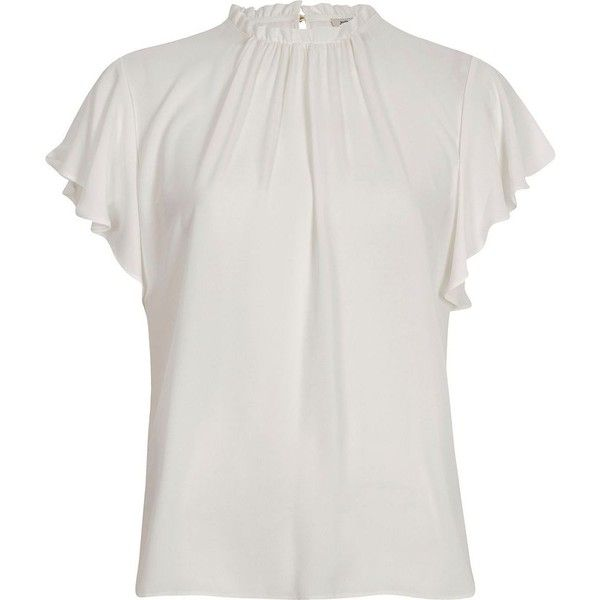 4dcbaeed3e1b9b River Island White high neck frill sleeve top ($52) ❤ liked on Polyvore  featuring tops, blouses, white, women, flutter sleeve blouse, white blouses,  ...