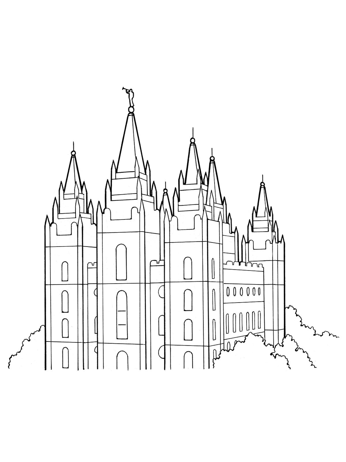 An Illustration Of The Salt Lake Temple Lds Coloring Pages