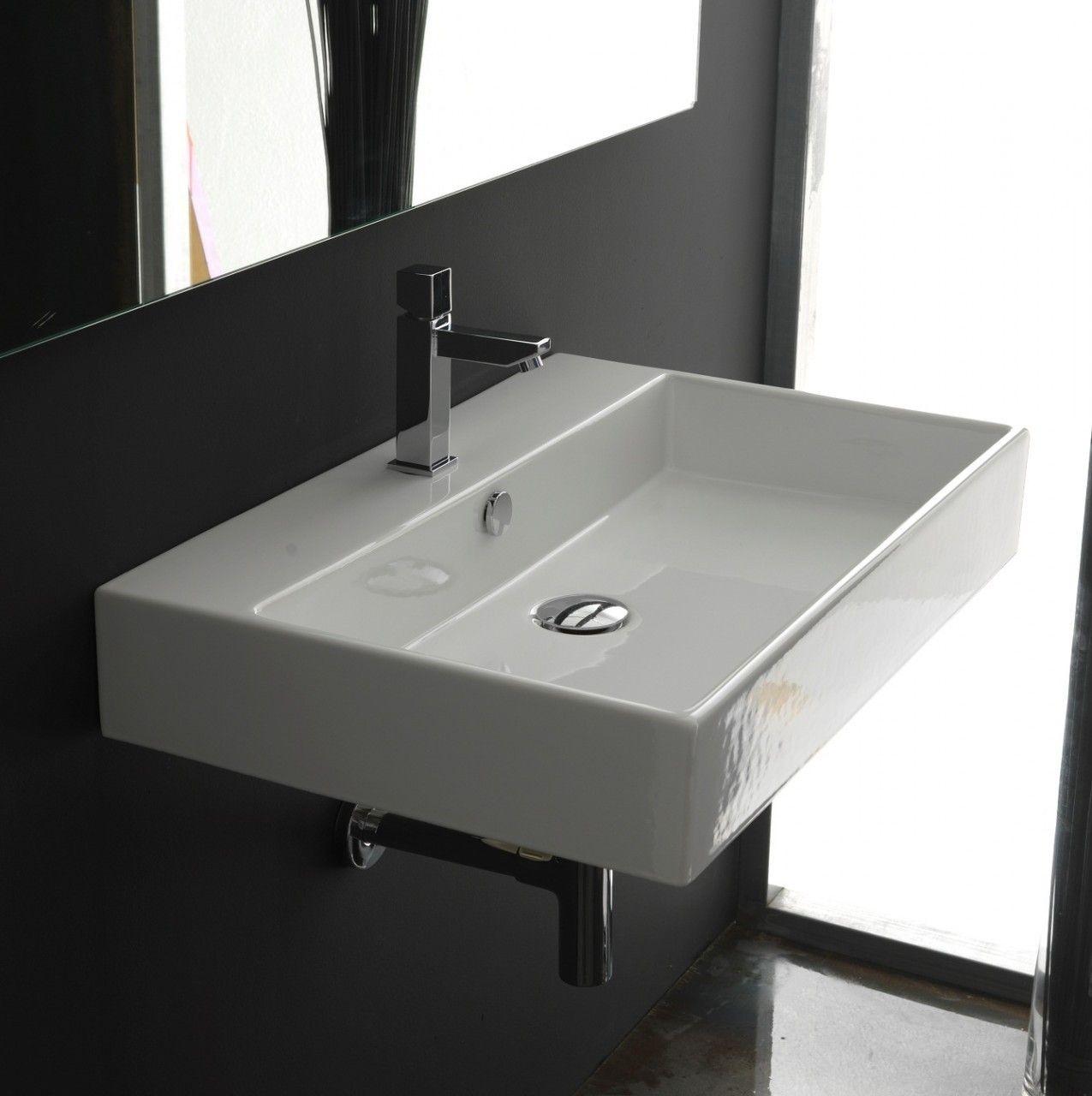 Ws Bath Collections Unlimited 60 Wall Mounted Vessel Bathroom Sink 23 6 Rectangular Sink Bathroom Wall Mounted Bathroom Sinks Ceramic Bathroom Sink