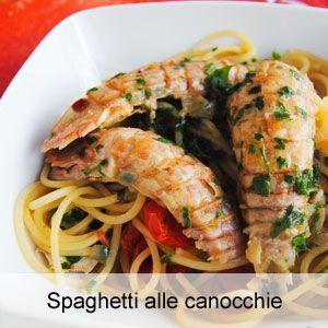 la ricetta per cucinare gli spaghetti alle canocchie o cicale di mare