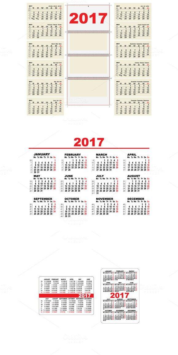 Set Template grid Calendar 2017 Objects $300 Best Objects