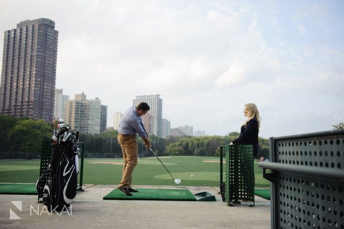 A Driving Range  Skyline   Lake Michigan  Lindsey   Jordan     Chicago Engagement photography  golfing at a driving range  skyline  Lake  Michigan  Lindsey   Jordan s engagement photos by Chicago engagement  photographer