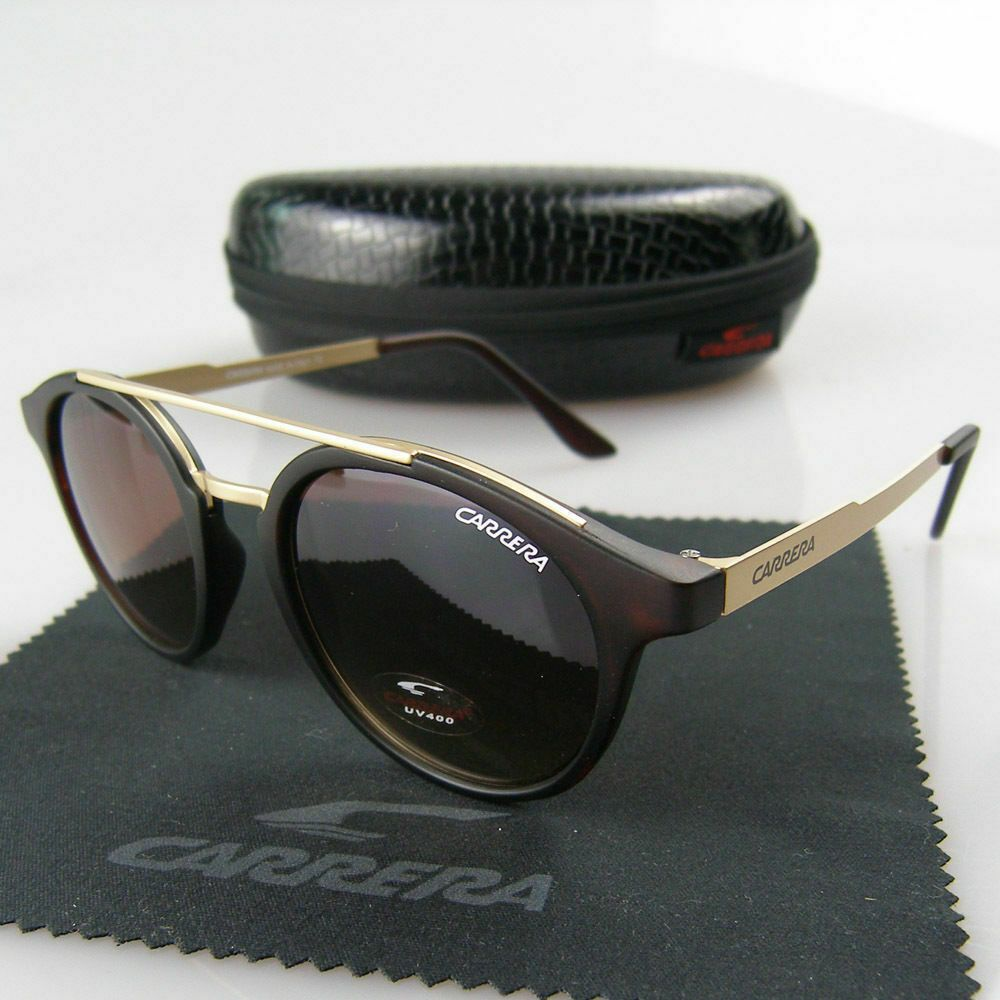 New Men Womens Retro Sunglasses Unisex Gold//Brown Metal Frame Carrera Glasses