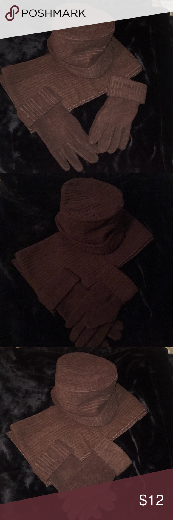Dark Brown hat,scarf & glove set