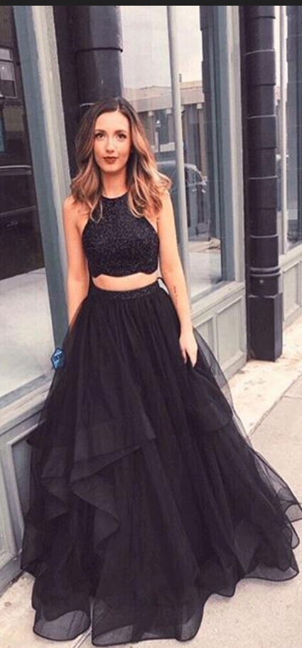 Black Beaded 2 Pieces Prom Dress Custom Made Long Evening Party Gowns Fashion Long Tulle Beadings School Dance Dresses PD761 #schooldancedresses