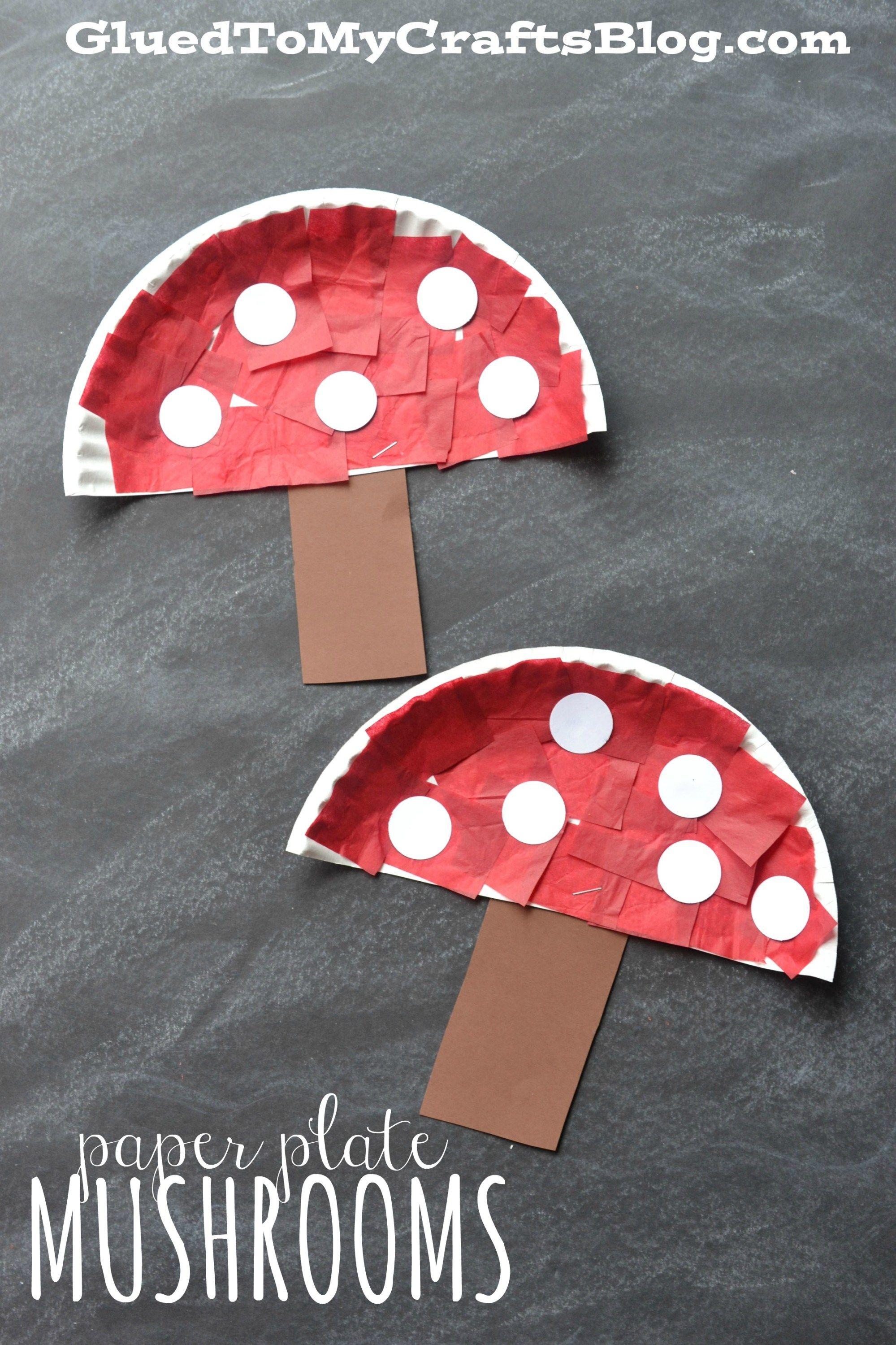 paper plate mushrooms kid craft kids crafts. Black Bedroom Furniture Sets. Home Design Ideas