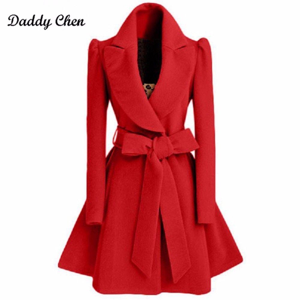 ac83aab442 Barato Sobretudo casaco longo para as mulheres Faixas casaco Fino feminino  para baixo Vermelho Cáqui Blusão