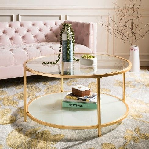 2 Tier Ivy Round Coffee Table Gold Safavieh In 2019