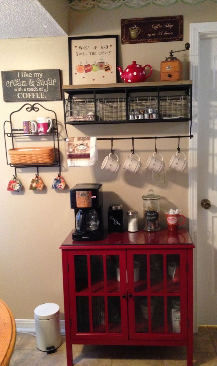 Love The Pop Of Color Diy Coffee Bar Coffee Bar Home Coffee Bar Station
