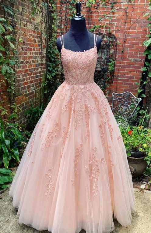 A Line tulle Pink lace prom dress, Long evening dress from SheDress