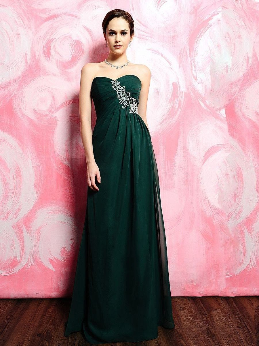 Sleeveless Floor-length Column Sweetheart Chiffon Prom Dress ...
