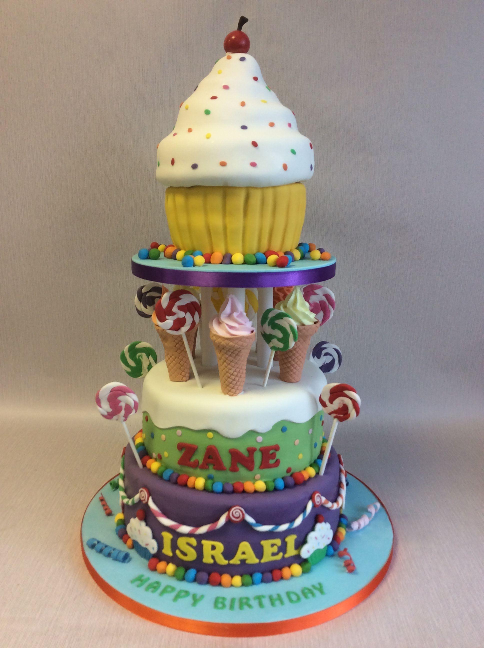 Extravagent 3 Tier Sweet Theme Birthday Cake Incorporating