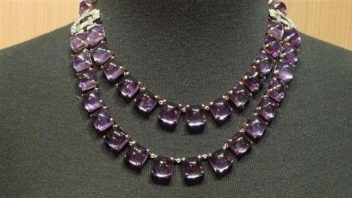 Estate Platinum, Amethyst, and Diamond Necklace