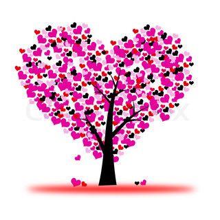 Pink Valentine Trae Kaerlighed Blad Fra Hjerter Valentine Tree Pink Valentines Picture Tree