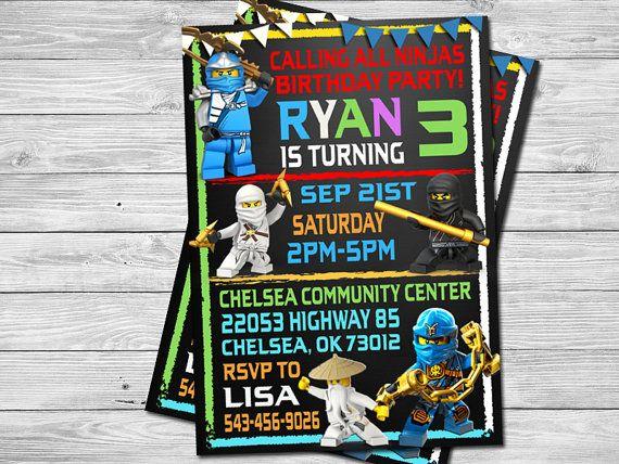 Lego Ninjago Birthday Party Invitation Digital by DigitalPartyInc