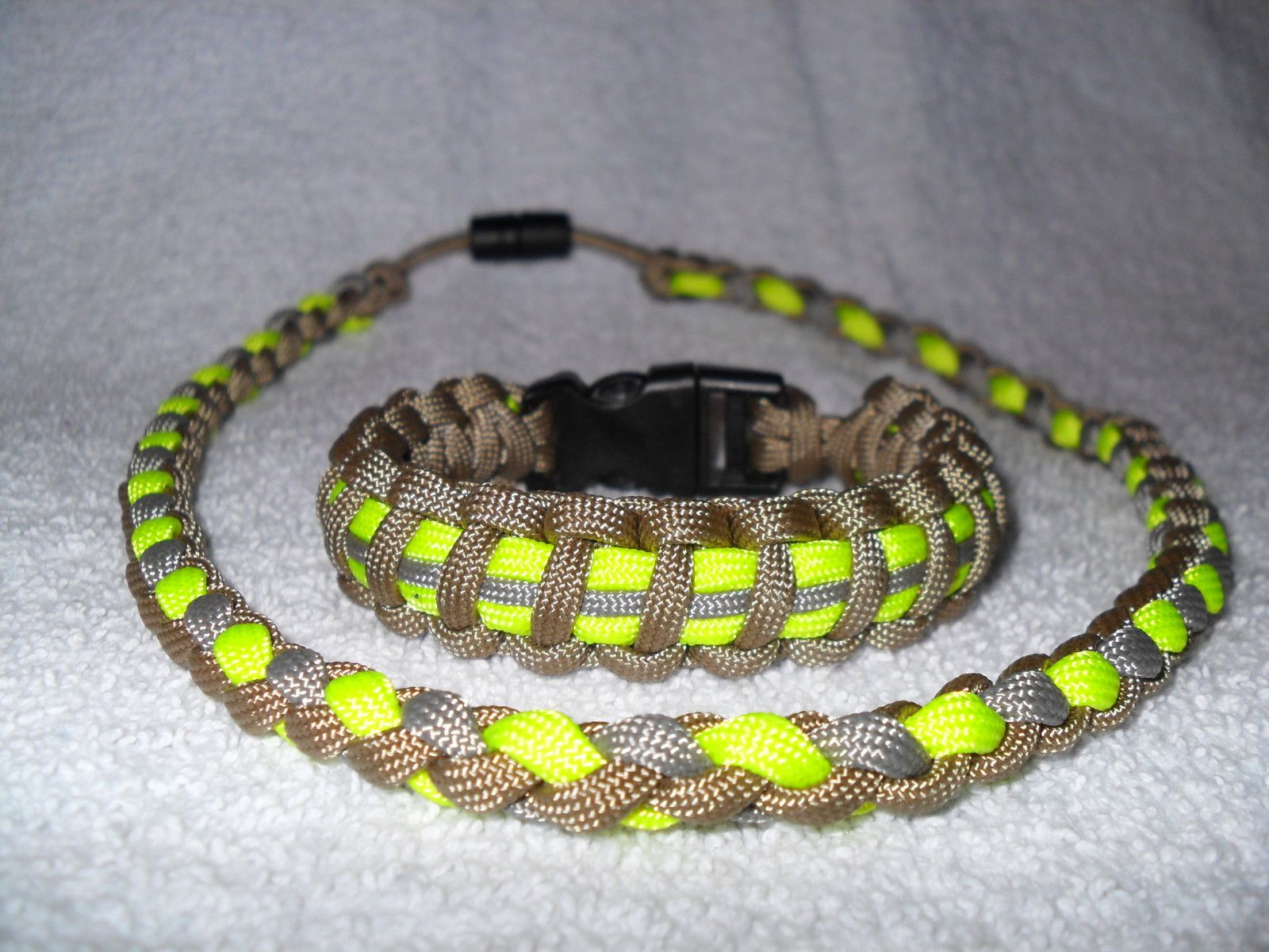 Bunker Gear Survival Paracord Necklace Bracelet Set Paracord