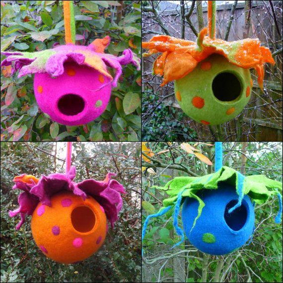 felted bird pod, bird house, ornament, window decoration, handmade, felted wool, MADE TO ORDER #feltbirds