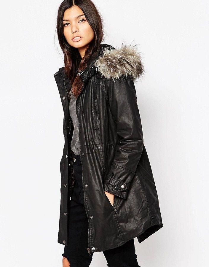 9dde0f6234a14 Urbancode Parka with Faux Fur Lined Hood - Black