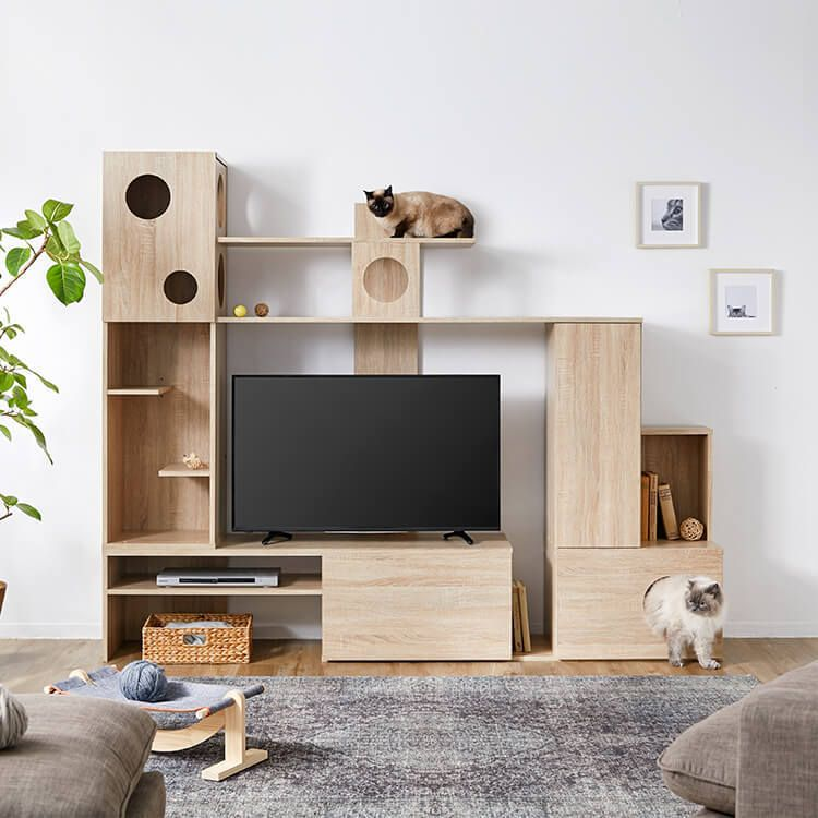 壁面収納テレビ台 左右両側昇降可能 木製 キャットタワー一体型 幅220 公式 Lowya ロウヤ 家具 インテリアのオンライン通販 猫の家具 テレビ台 収納 ねこ インテリア