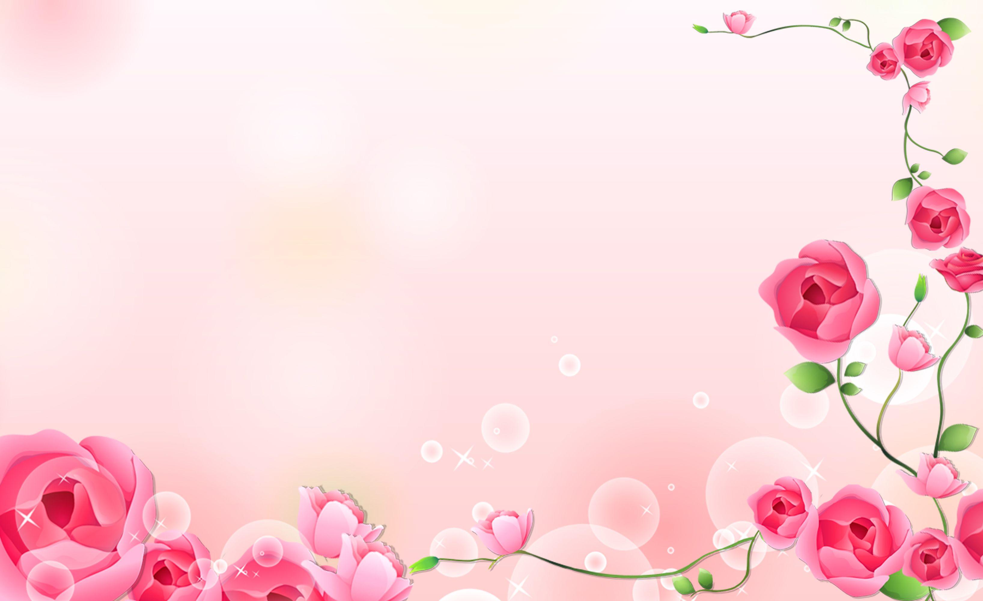 Roses Card Pink Flowers Background Em 2020 Cartoes De Visita
