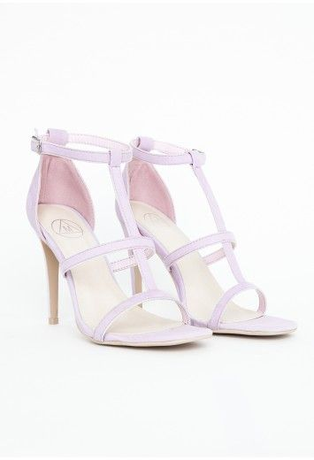 c32b95d9d59 Gemma Caged Heel Sandals In Lilac - Footwear - Sandals - Missguided ...