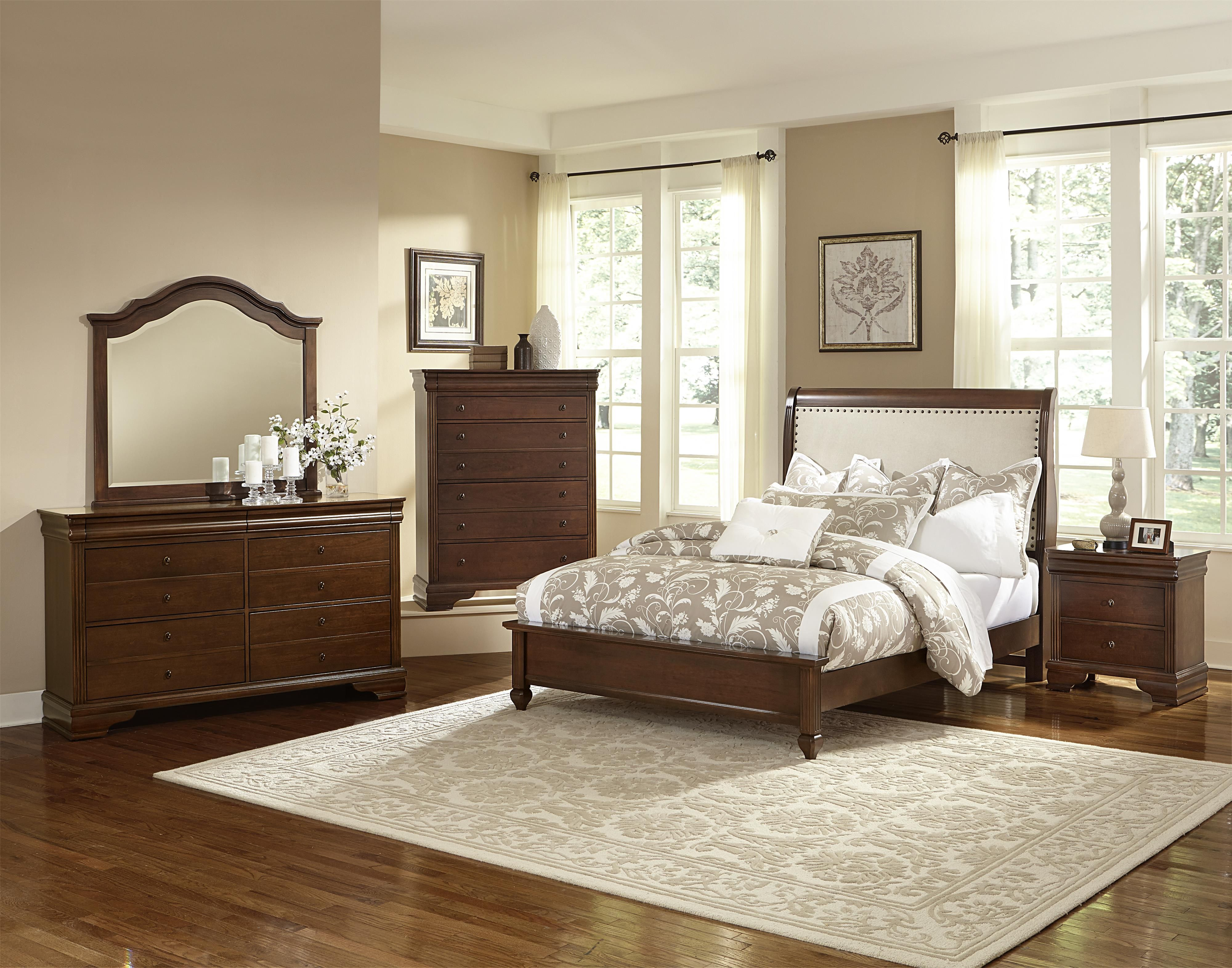 French Market King Bed w/ Upholstered Headboard & Low