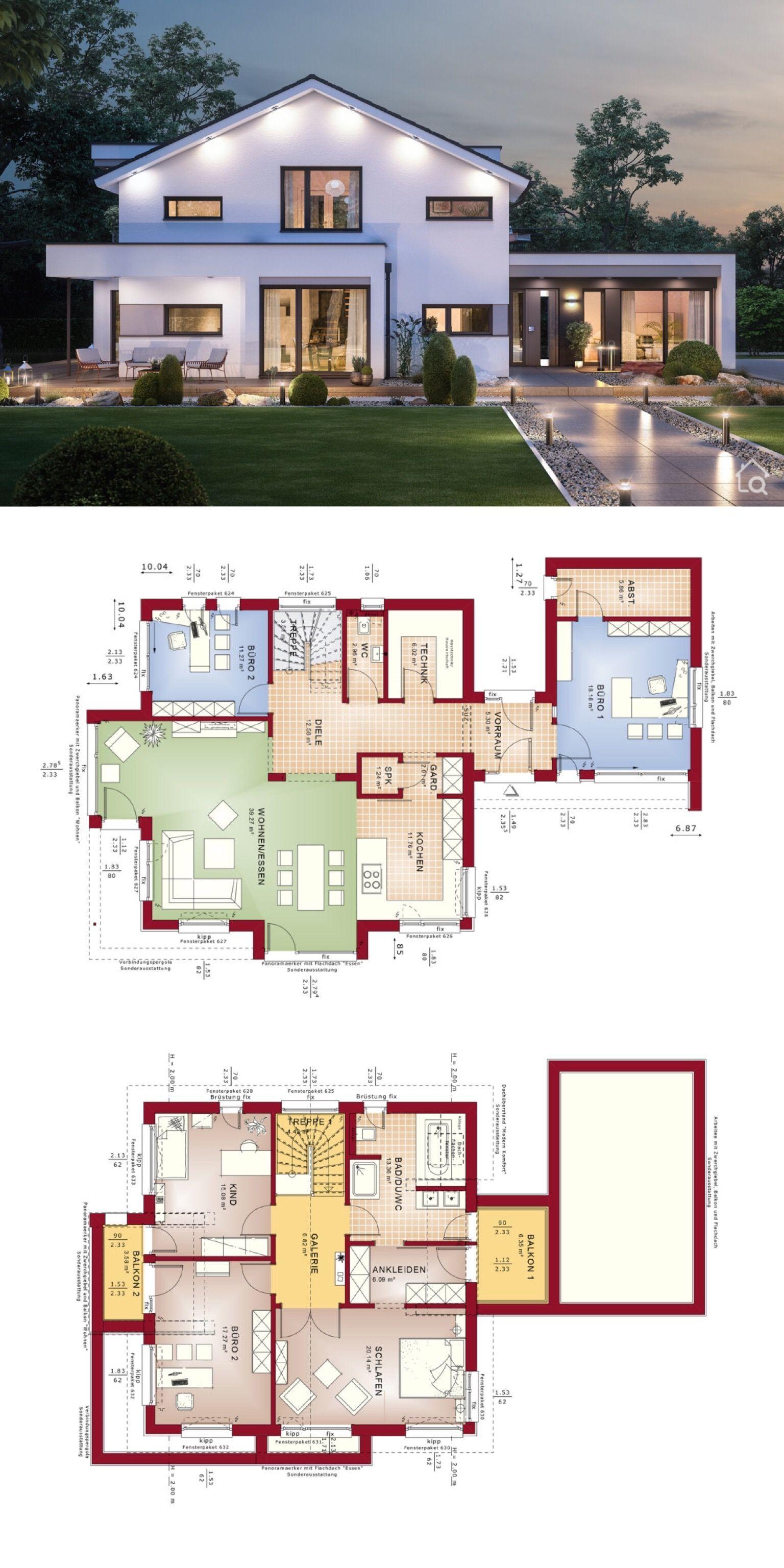 Fertighaus modern mit Satteldach & 5 Zimmer Grundriss