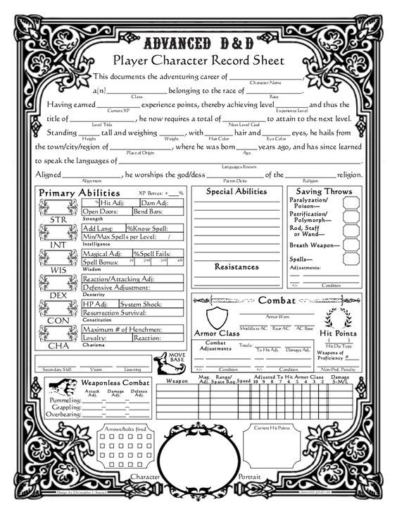 Dungeons And Dragons Character Sheets Baroque Character Sheet Ad D Version Dungeons And Dragons Characters Dnd Character Sheet Character Sheet
