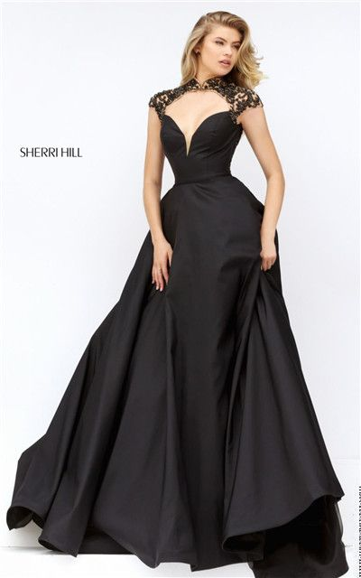 Beaded High Neck Sherri Hill 50004 Cutout Back Long Black Prom Gown ...