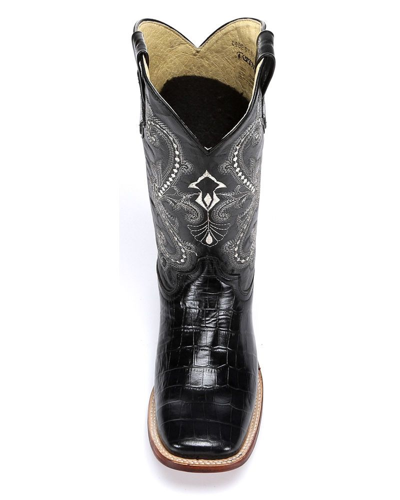 857a1c24990 Ferrini Chocolate Alligator Belly Print Cowgirl Boots - Wide Square ...
