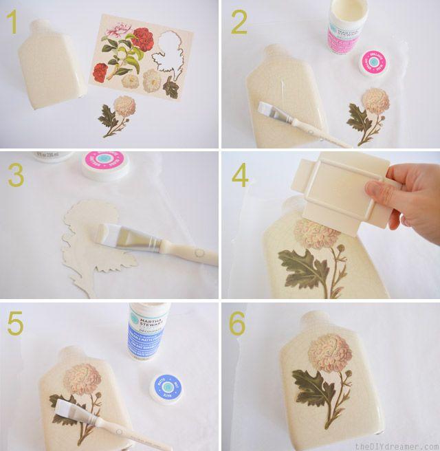DIY Decoupage Vintage Vase