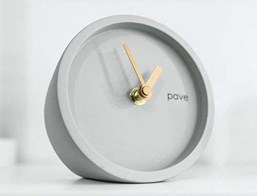 Mantel Clock Grey Gold Clock Hands By Pave Kitchen Bedside Table Desk Modern Scandinavian Design Minima Desk Clock Modern Minimal Clock Contemporary Clocks