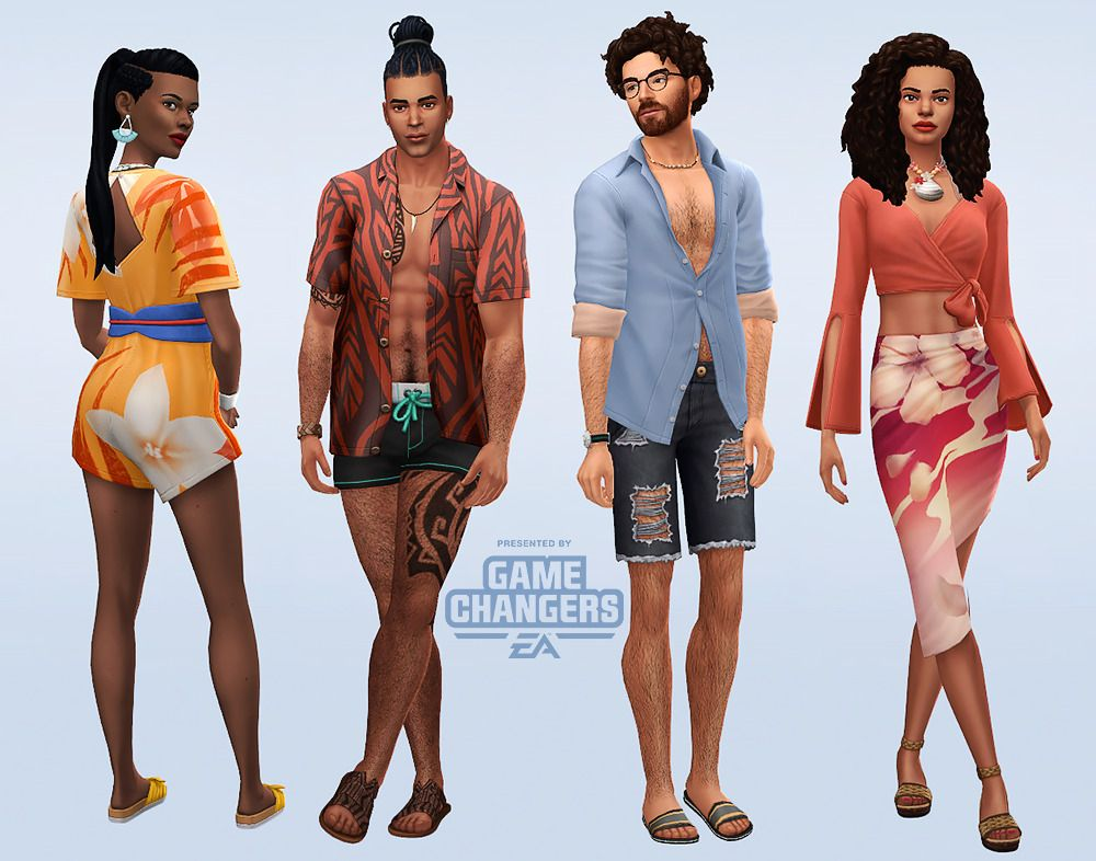 I Love The Clothings Of This Pack They Are Perfect For Sulani Residents Maybe A Bit More Difficult To Use Elsewhere The Sims 4 Packs Sims 4 Sims 4 Clothing