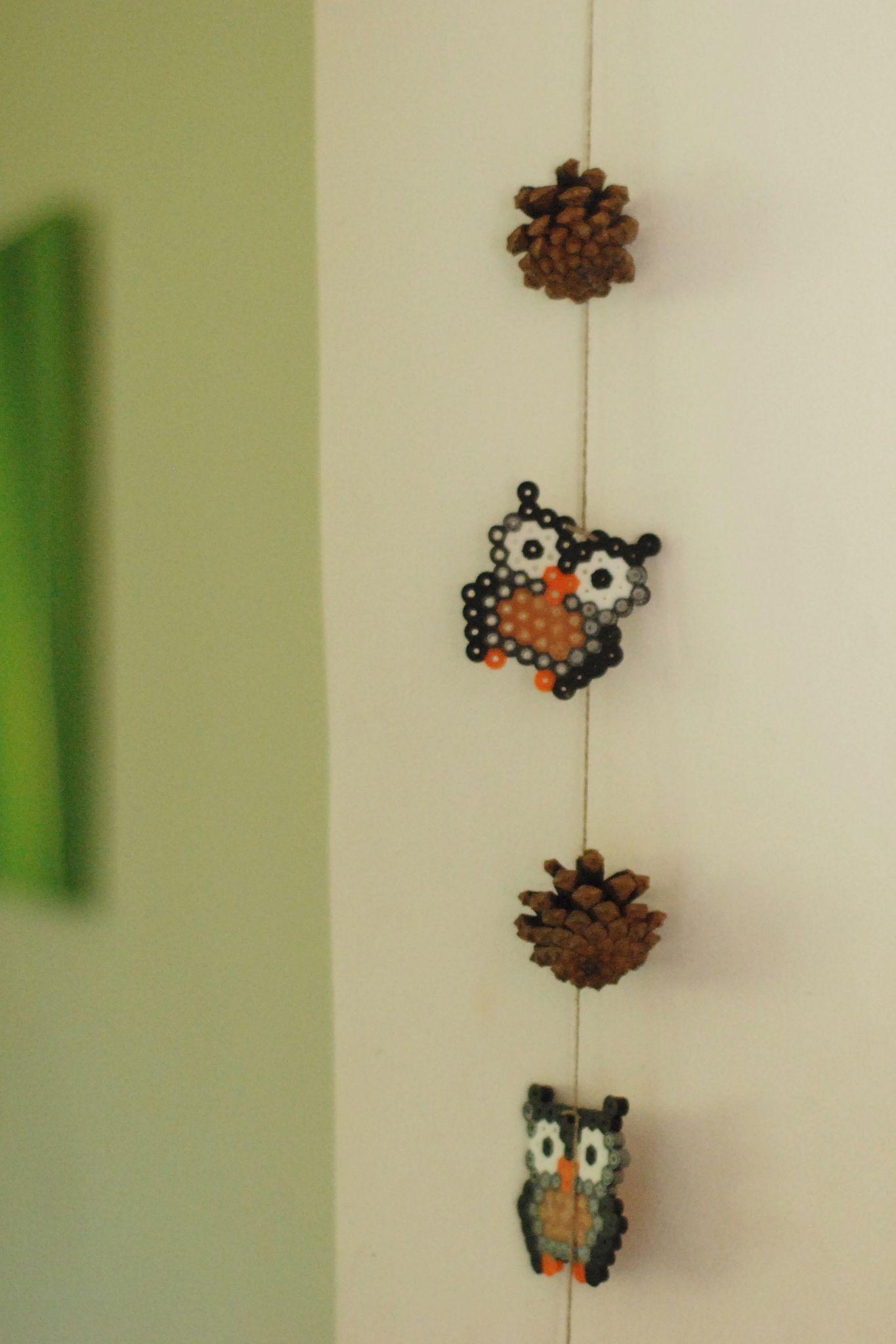 activit s avec enfants guirlande de hiboux en perles repasser hama midi perles pinterest. Black Bedroom Furniture Sets. Home Design Ideas