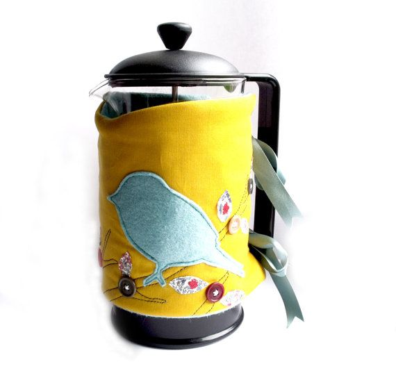 Cafetiere Cosy Coffee Pot Cozy Bird Ons By Sewrealicoul 16 00
