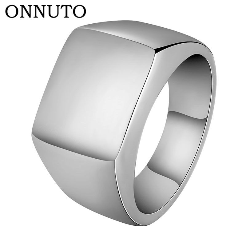 DFR344 Classic Square Glossy Metal Black Ring For Men and Women Rose Gold Col...