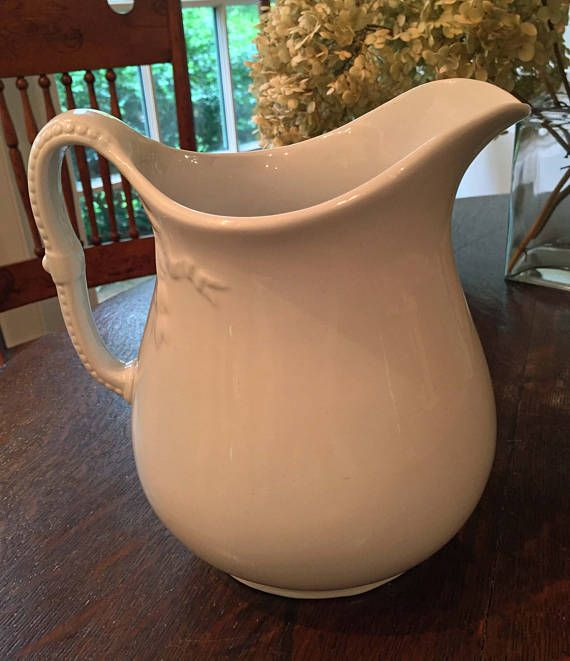 Early English White Ironstone Pitcher Chain Of Tulips Shape