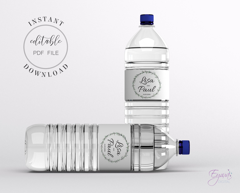 Greenery water bottle label template wedding water labels