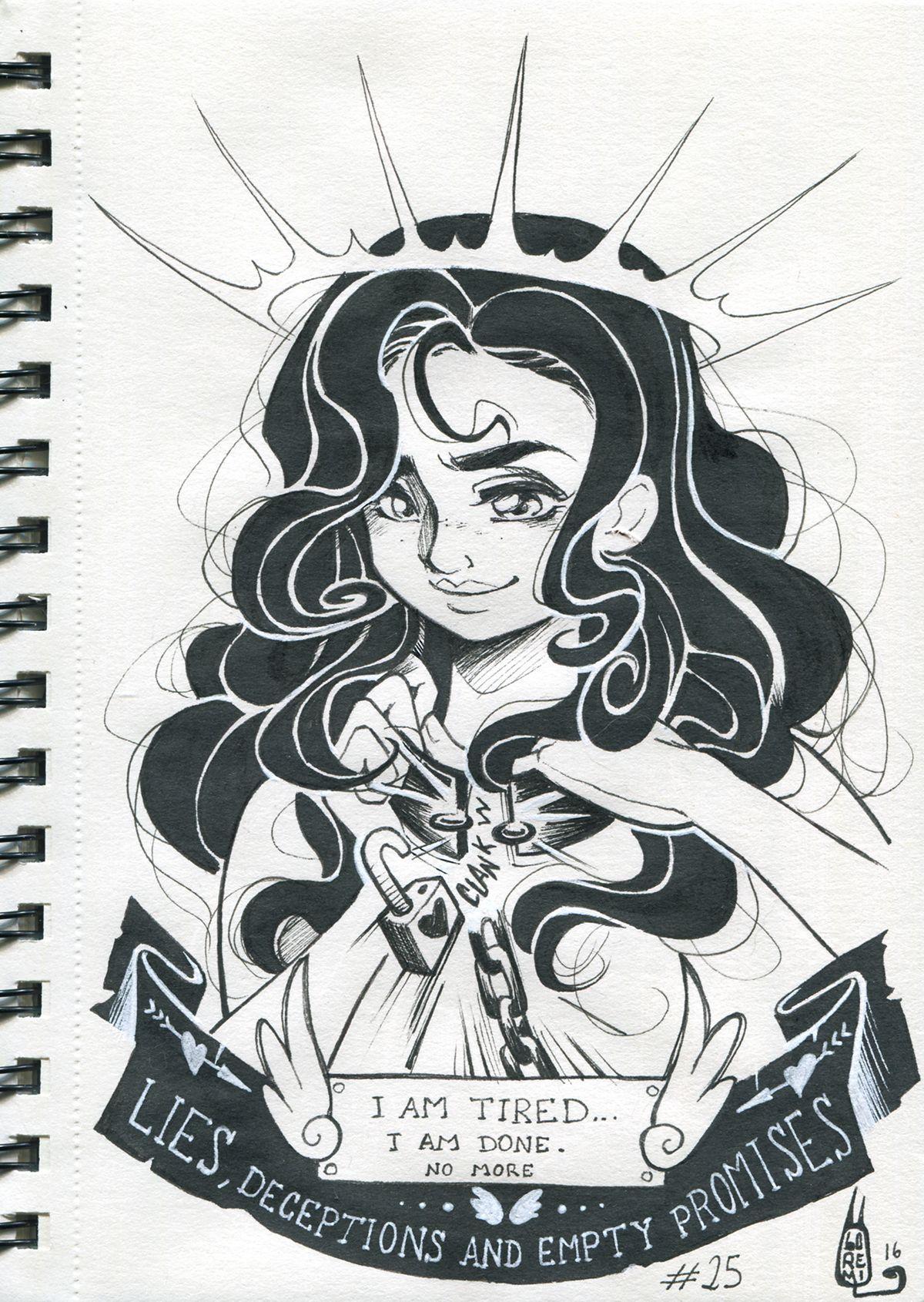 41b4dfea5f Inktober drawings 2016 on Behance.  Tired ink 25  portfolio  drawing  ink   inktober  woman  blackhaired  doodle  art  artist  atrongwoman  freewoman  ...