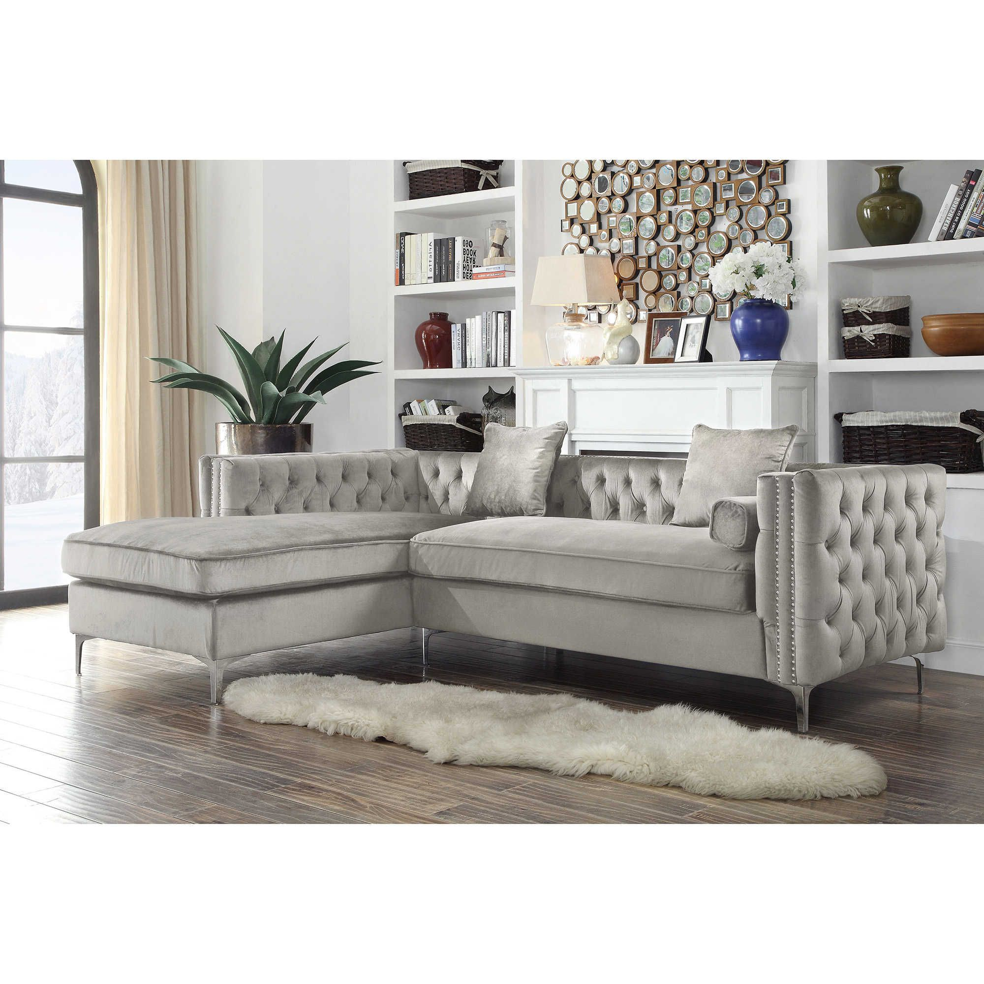 Chic Home Picasso Right Facing Velvet Sectional Sofa In Silver Aa