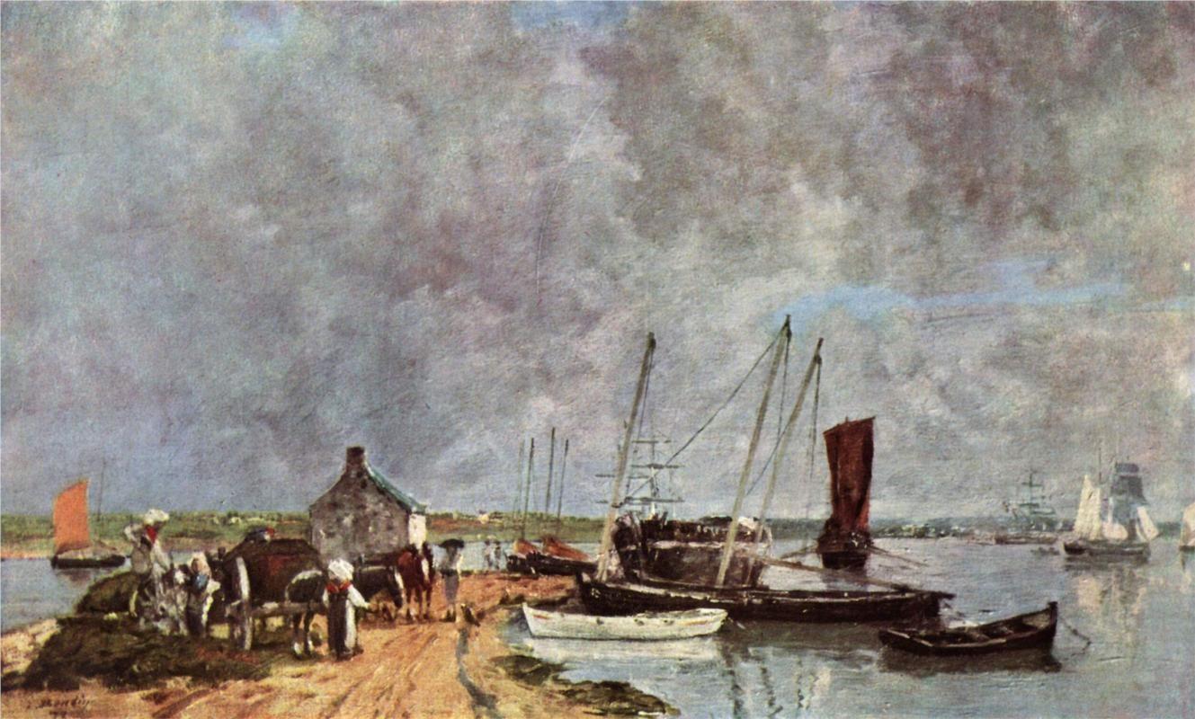 """Le port du Passage, Plougastel"",  by  Eugene Boudin ."