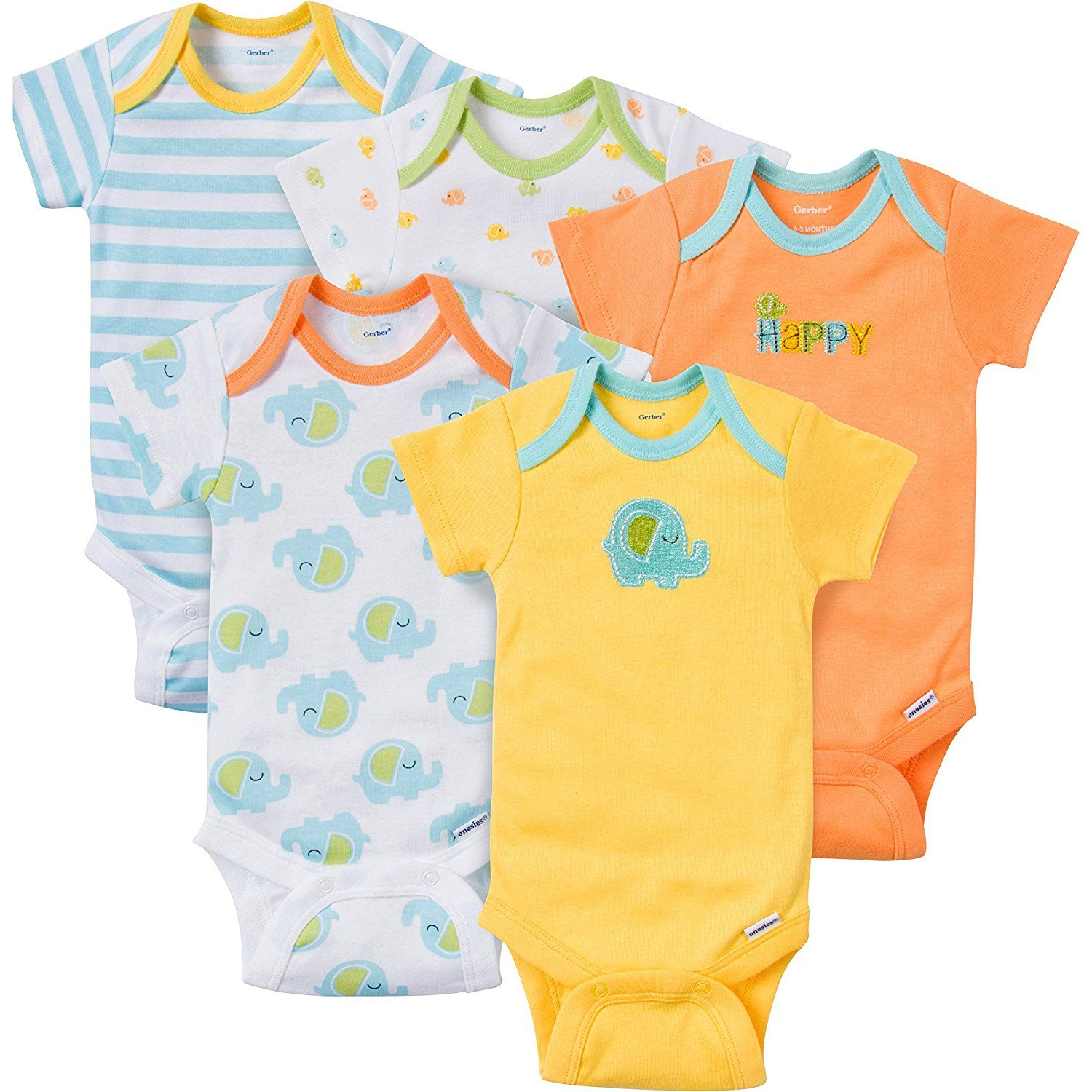 3-6 Months Dino Essentials Girls Baby 6-Pack Short-Sleeve Bodysuit