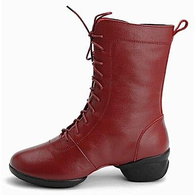 Non Customizable Women's Dance Shoes Dance Sneakers Leather Low Heel Black/Red – EUR € 63.69